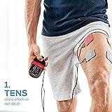 Beurer EM 59 Electroestimulador digital con función calor, tens, ems y masaje, 2 canales, función calor, 4 electrodos, con pads de gel, intensidad regulable, temporizador, color negro rojo