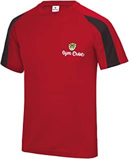 Star and Stripes GymCroc Gym Clothes for Men – Cool Gym Wear Contrast T Shirt – Short Sleeve Sportswear Top in Cool Wicki ...