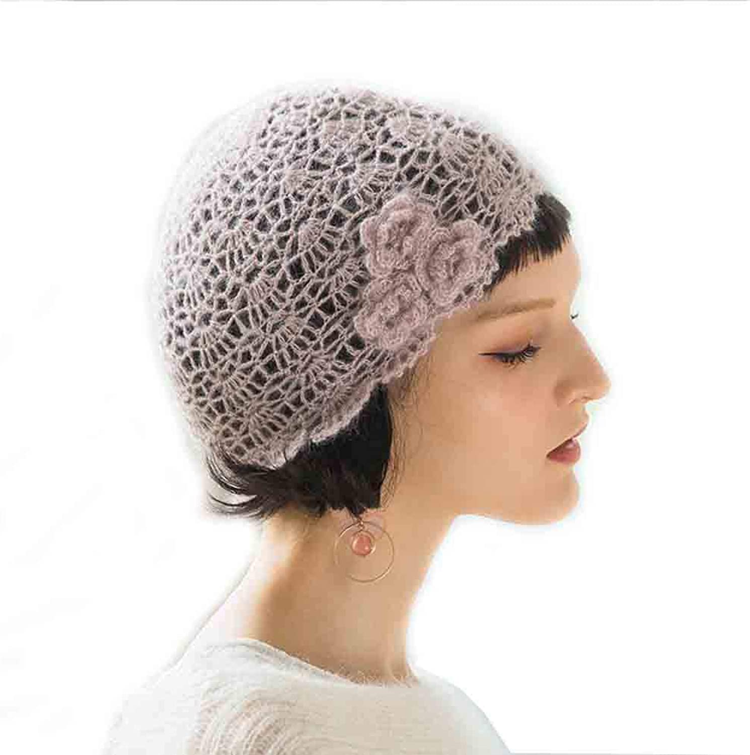 SUN Women's Autumn and Winter Casual Berets Cap, Flower Openwork Knit Sweet Cute,Solid color Knitted Baotou Cap (color   Pink Fog)