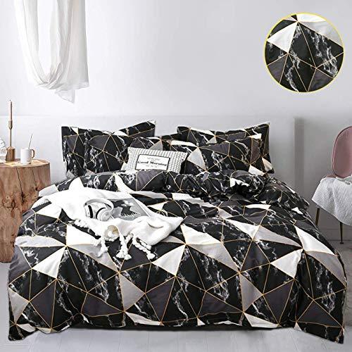 Jumeey Black Duvet Cover Queen Geometric Diamond Bedding Sets Full Silver Grey Black White Triangle Blocks Bedding Full Size 100% Cotton Men Women Modern Gold Plaid Marble Duvet Cover(NOT Comforter)