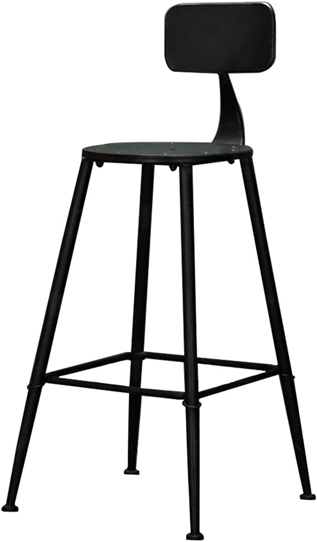 Barstools Chair Footrest Vintage Industrial Style Bar Stool Metal Bracket Design Kitchen Restaurant Bar High Stool Chair Black (Sitting Height  71CM)