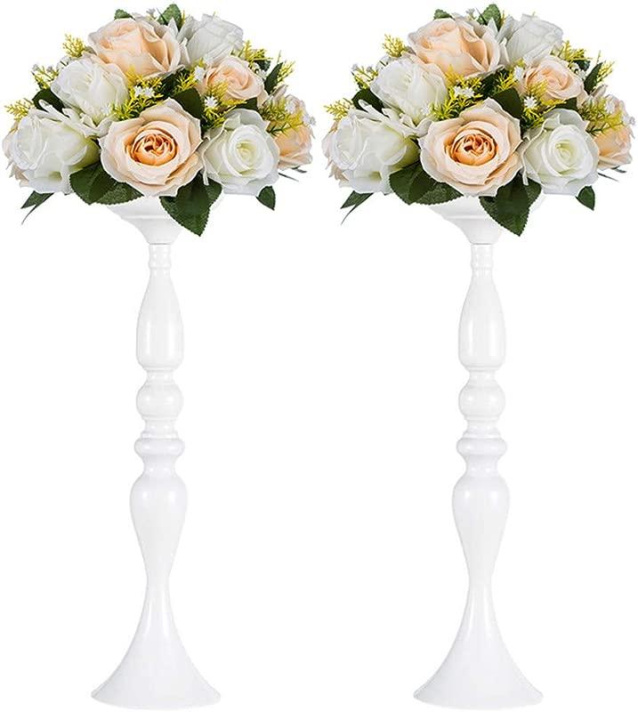 Nuptio Versatile Metal Flower Arrangement Candle Holder Stand Set Candlelabra For Wedding Party Dinner Centerpiece Event Road Lead Restaurant Hotel Decoration White 19 7 H