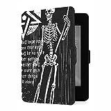 Funda para Kindle Paperwhite 1/2/3 Generation Gothic Badge con Calavera y Cubierta de Pentagrama Compatible con Ereaders Funda Kindle Paperwhite Funda de Cuero PU con activación /