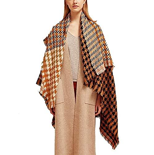 SONGYU Bufanda a Cuadros, Suave y de Moda en climas fríos, Chal cálido en Invierno, en otoño e Invierno (Color: Amarillo)