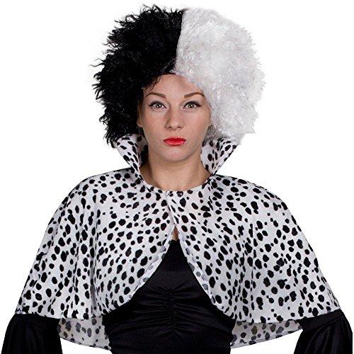 Deluxe Cruella Deville Volumineuze Zwart & Wit Middenlengte Bob Kostuum Pruik