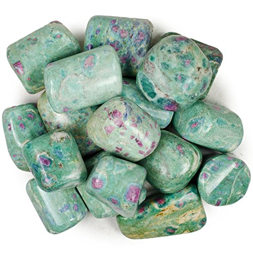 Hypnotic Gems Materials: 1 Piece of Top Grade Hand Polished Ruby Fuschite from India - Avg 1' to 1.25' - Bulk Natural Polished Tumbled Gemstone Supplies for Wicca, Reiki, and Energy Crystal Healing