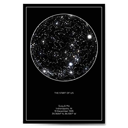 Personalized Star Constellation Map, Minimal Star Chart, Night Sky Poster
