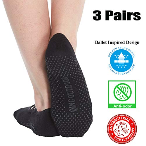 Women's No Show Low Cut Hospital Slipper Socks Great for Barre Pilates Yoga with Non Skid Grips Pack of 3, Black, One Size