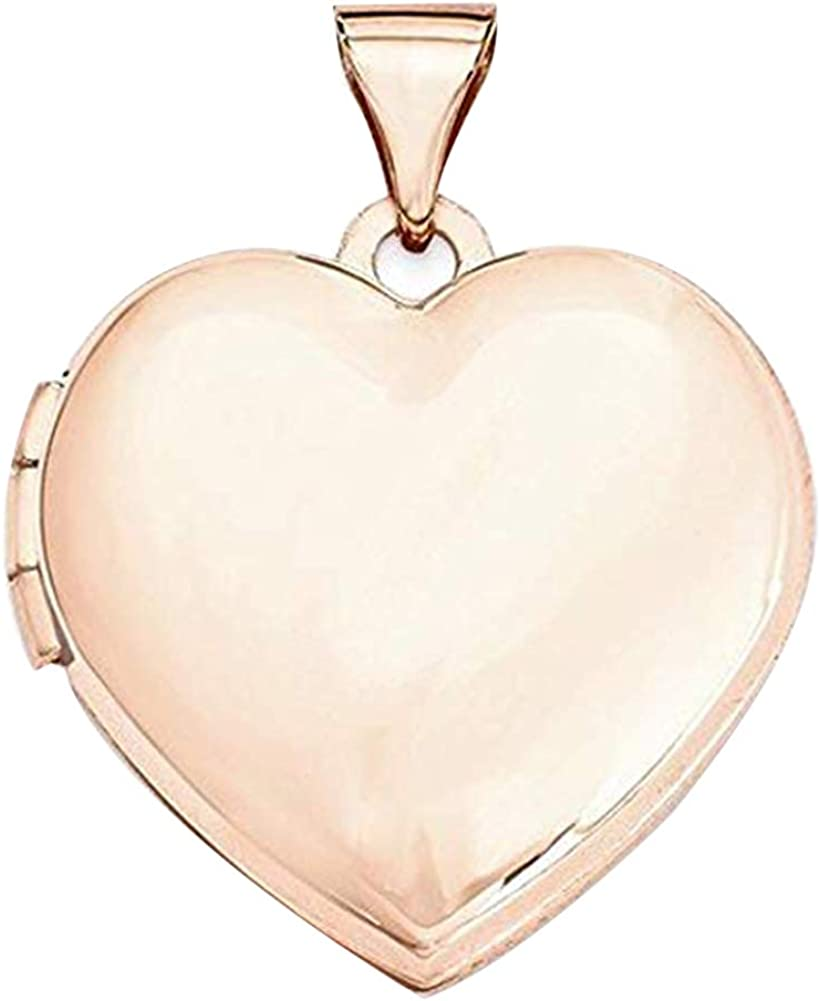 PicturesOnGold.com 14k Rose Gold Heart Plain Locket - 3/4 Inch X 3/4 Inch in Solid 14K Rose Gold