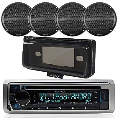 "Kenwood Single DIN Bluetooth In-Dash CD/AM/FM/Digital Media Marine Stereo Receiver, 4x Enrock Marine Dual 6.5"" Full Range Speakers, Radio Cover"
