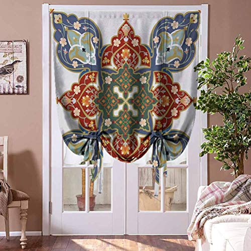 Kitchen Curtains and Valances Oriental Window Blind Fabric Curtain Drapery Turkish Ottoman Arabic Design Flowers Moroccan Image for Play Room Decor Decorative Rod Pocket Panel, 42' W x 72' L