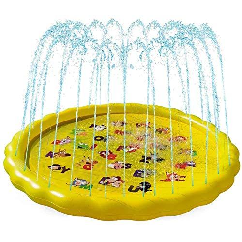 KJDFN Aerosol QWE verano Ronda de agua Mat, los niños Niños niños inflables juegos al aire libre Agua Espolvorear Juguetes césped Playa Piscina for niños Splash Mat, letras y animales, 170cm de diámet