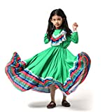 Mexican Girl Senorita Costume Child Traditional Jalisco Dresses Day Of The Dead Party Costume Folklorico Dance Dress (Green, L)