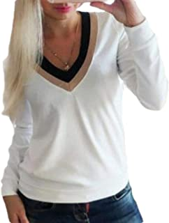 Frieed Womens Fashion V Neck Shirts Slim Long-Sleeve Pullover T-Shirts Top Blouse