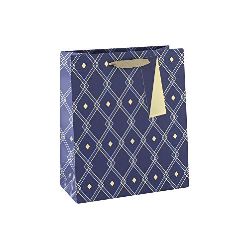 Clairefontaine 28590-3C - Una bolsa de regalo mediana 21,5 x 10,2 x 25,3 cm, 210 g, Geoométrica azul