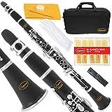 Lazarro Professional Black Ebonite-Silver Keys Bb B Flat Clarinet with 11 Reeds,2 Barrels,Case,Extras-See all 24 Colors-150-BK-PRO