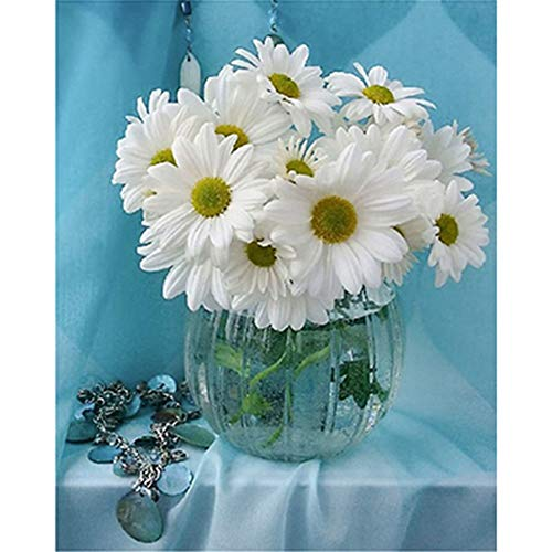 Large Diamond Painting Kits Full Dril 5D DIY Adults Kids Diamond Art Embroidery White Daisy and Bracelet 80x100cm/32x40in Round Drill Pictures Crystal Rhinestone Cross Stitch Home Wall Decor A8410