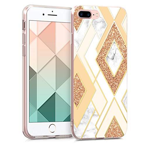 kwmobile Carcasa Compatible con Apple iPhone 7 Plus / 8 Plus - Funda de TPU y Rombos Brillantes en Dorado/Cobre/Beige
