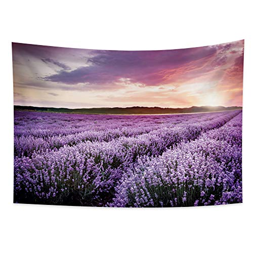 Yongto Lavender Tapestry Wall Hanging Purple Floral Plant Tapestry Lavender Ocean Tapestry Boho Natural Landscape Tapestry Wall Tapestry for Bedroom Living Room College Dorm Decor 70.9x63.0 inches