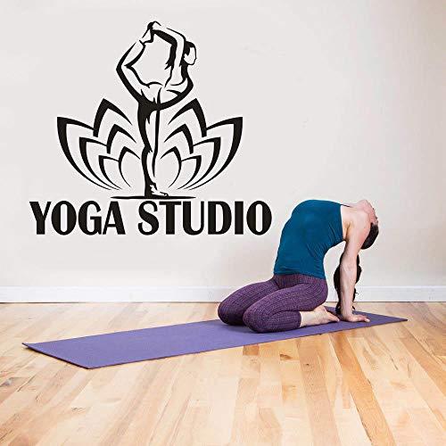 。 Adhesivo de pared para estudio de yoga, decoración de loto, patrón de yoga, pilates, vinilo de pared, decoración de pared de 65 x 57 cm