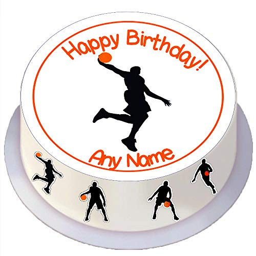 Made4You Basketball Silhouette Birthday - Personalised Edible Round Cake Topper