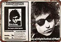 Shimaier 壁の装飾 ブリキ 看板メタルサイン 1969 Bob Dylan en la isla de Wight ウォールアート バー カフェ 30×40cm ヴィンテージ風 メタルプレート