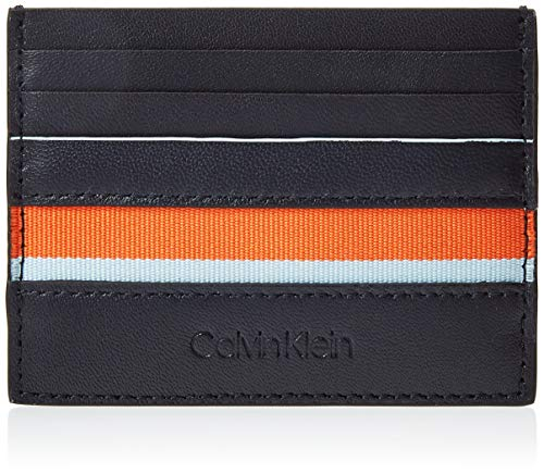 Calvin Klein - Stripe Cardholder, Tarjeteros Hombre, Negro (Navy), 7.8x1.2x11 cm (B x H T)