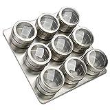 Acero Inoxidable Spice Jar magnética, Especias magnética Tarro Contenedor con Tapa Shaker, Cocina para Guardar Objetos Jar Set, con Ventana Transparente, Pimienta y Hierbas,C