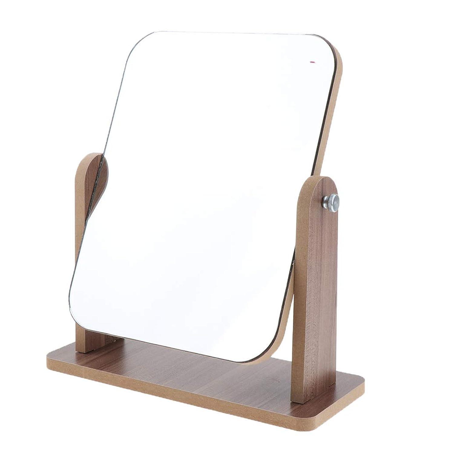 長々と収入強化するSharplace 全3サイズ 卓上化粧鏡 フェイスケアツール 高精細 木製フレーム 自立型 鏡 デスクトップ - 大