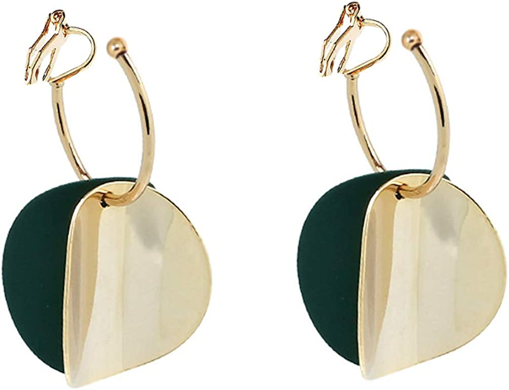 Double Circle Clip on Earrings non Pierced Soft Pads Dangle Gold Plated Green Round for Women Hoop