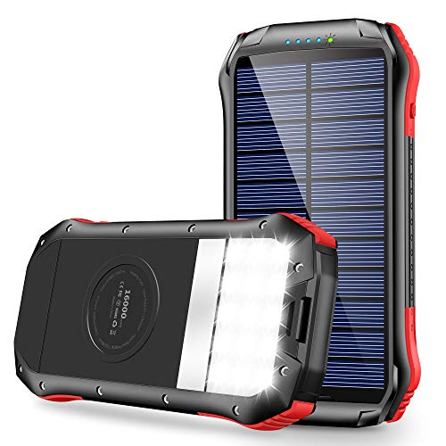 Solar Charger, Portable Charger 16000mAh, Solar Power Bank External Backup Battery USB Type-C Ports, Waterproof Solar Phone Charger Panel Charging for Smartphones, 15 LED Flashlights for Outdoor