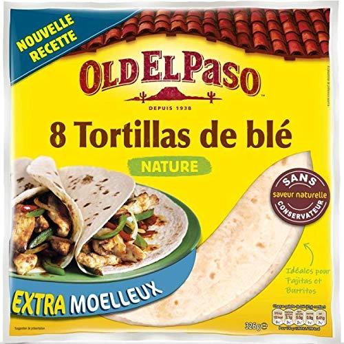 Old El Paso Tortillas extra moelleuses, au blé nature - La boîte de 8, 326g