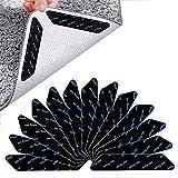 Pinzas para Alfombras,24 PCS Antideslizante Alfombra Pinzas,Alfombras Antideslizantes Pinzas,pegatinas reutilizables para esquinas de alfombra, agarre para alfombra en la oficina, cocina, baño,negro