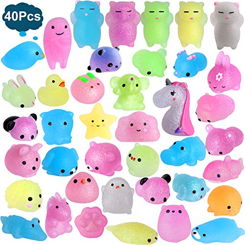 Outee Mochi Squishies Animals 40 Pcs Mochi Squishies Toys 2nd Generation Mini Toys Stress Relief Squishies Random Animals Squishies Toys Glitter Mini Elephant Squishies for Kids Adults