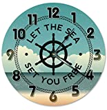 Let the Sea Set You Free Clock 12 Reloj de pared grande 2193