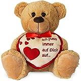 matches21 Teddybär Herz Teddy ICH Pass Immer AUF Dich AUF Hellbraun beige 25 cm DAS ORIGINAL Geschenk Klassiker Partner Freundin Valentinstag