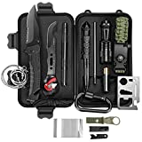SUWIKEKE Survival Kit, Upgraded 14 in 1 Survival Gear Tool, Professional Camping Gear for Hiking Camping Travelling Wilderness Adventures