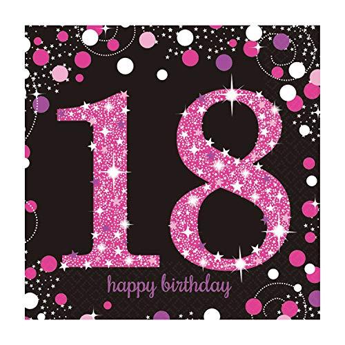 amscan 9900579 16 Servietten 18.Geburtstag Sparkling Celebration, Schwarz/Pink