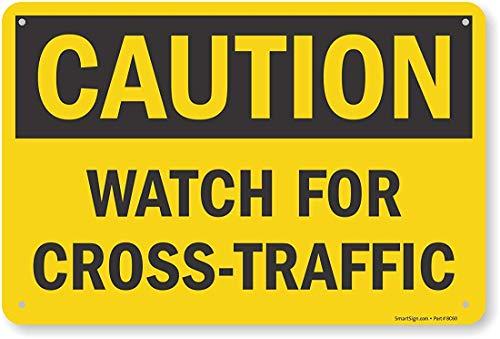 """Mesllings OSHA Sicherheitsschild, Legend: """"Caution: Watch for Cross-Traffic"""", 30,5 cm hoch x 45,7 cm breit, Schwarz auf Gelb"""