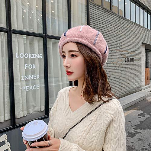mlpnko Color Boina Boina Damas Moda Sombrero de Punto Retro Inglaterra Octogonal Sombrero Rosa M (56-58cm)