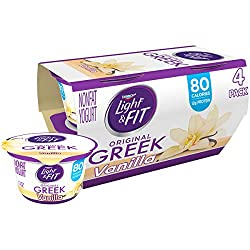 Light & Fit by Dannon Greek Nonfat Yogurt, Vanilla, Gluten-Free, 5.3 oz., 4 Pack