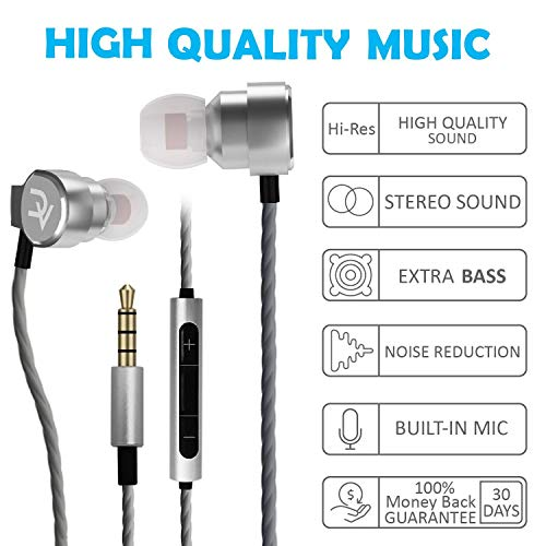 DEIVVOX D0218 Wired Earbuds with Microphone in Ear Headphones - Volume Control Mic - Balanced Sound with Extra Bass - Earphones Noise Isolating - Headset for Cell Phones Samsung Sony LG - Jack 3.5 mm 5