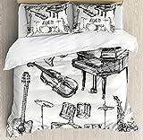 Jazzmusik - Juego de ropa de cama infantil (220 x 240 cm, 3D, 3 piezas, microfibra, con cremallera y 2 fundas de almohada de 80 x 80 cm), diseño de trompeta