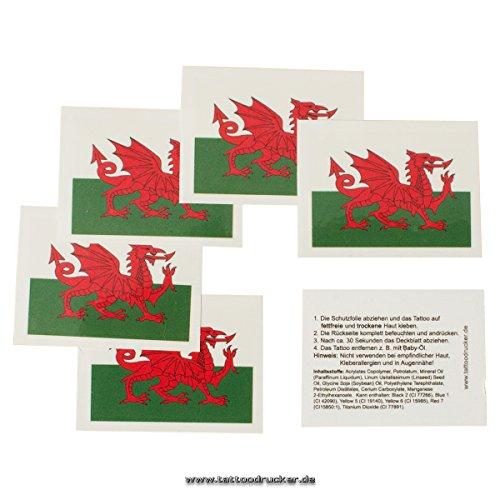 5 x Wales Tattoo Fan Fahnen Set EM 2021- Wales Temporary Tattoo Flag (5)