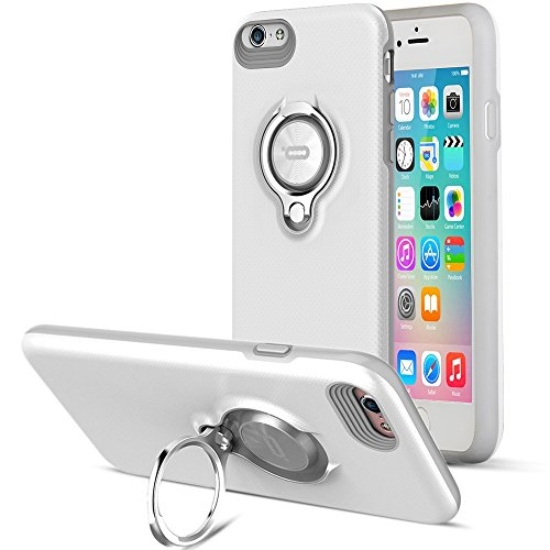 Compatible Phone case for iPhone 6 Plus Case with Ring Kickstand by ICONFLANG, 360 Degree Rotating Ring Grip Case for iPhone 6 Plus Dual Layer Shockproof Impact Protection iPhone 6+ Case (Grey White)