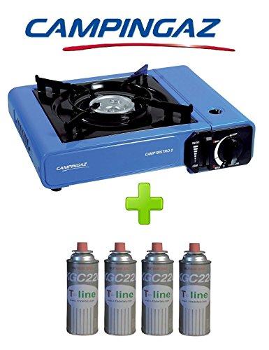 FORNELLO DA TAVOLO BISTRO 2 CAMPINGAZ + 4 CARTUCCE A GAS INCLUSE - POTENZA 2.300 W INCLUSA CUSTODIA E ACCENSIONE PIEZO
