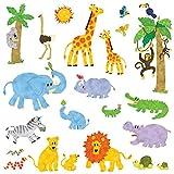 DECOWALL DW-1513 Animales de la Jungla Vinilo Pegatinas Decorativas Adhesiva Pared Dormitorio Salón Guardería Habitación Infantiles Niños Bebés