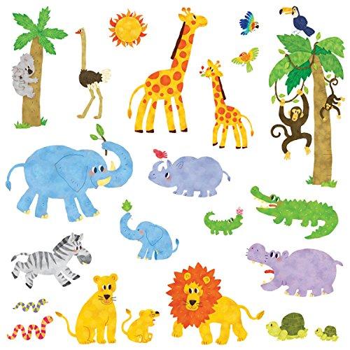 Decowall DW-1513 Dschungeltiere Dschungel Tiere Wandtattoo Wandsticker Wandaufkleber Wanddeko für Wohnzimmer Schlafzimmer Kinderzimmer