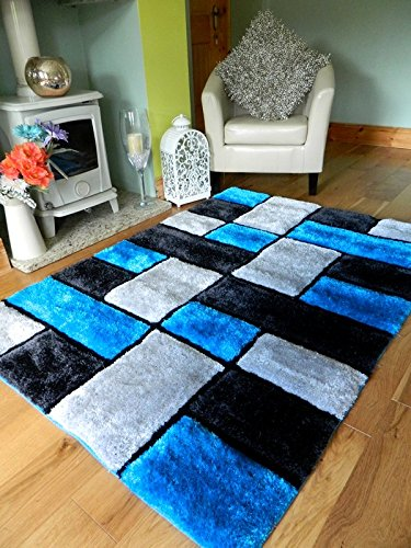 NEW MODERN TEAL TURQUOISE BLACK SILVER THICK HEAVY SILKY SOFT LUXURIOUS SHAGGY LIVING AREA BEDROOM RUG NON SHED SHAGGY PILE (150x210cm (4'11'x 7')