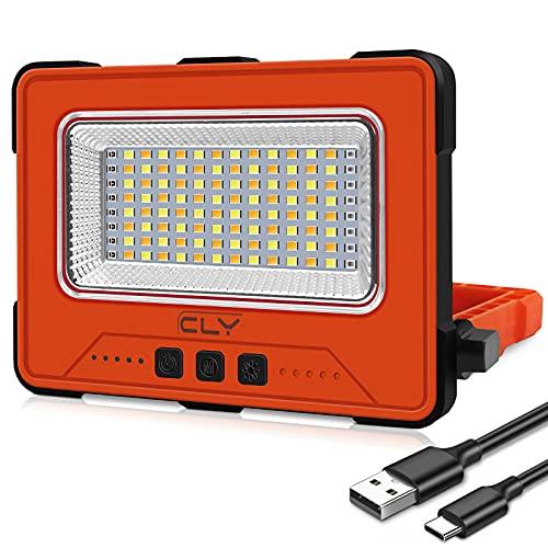 Projecteur LED Rechargeable USB 30W 12000MAH 1000LM Projecteur Chantier Portable Magnétique 4 modes d'éclairage et 5 niveaux de luminosité Batterie externe d'urgence avec Panneau Solaire pour Camping